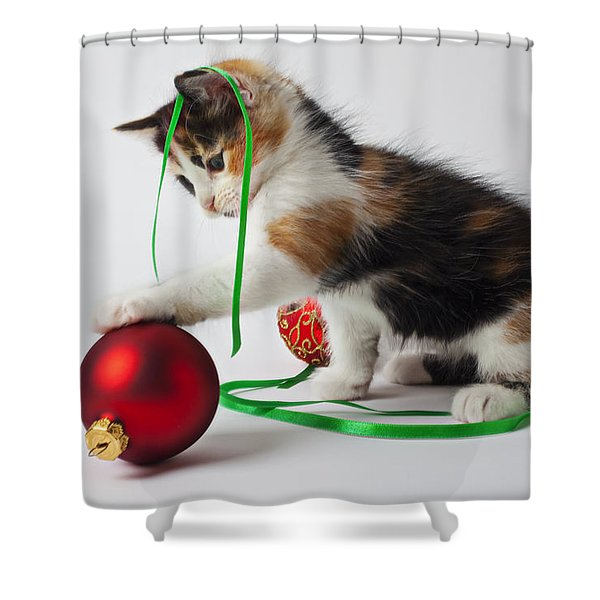 Calico Kitten And Christmas Ornaments Shower Curtain