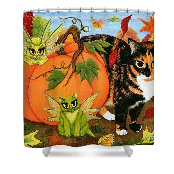 Calico's Mystical Pumpkin Shower Curtain