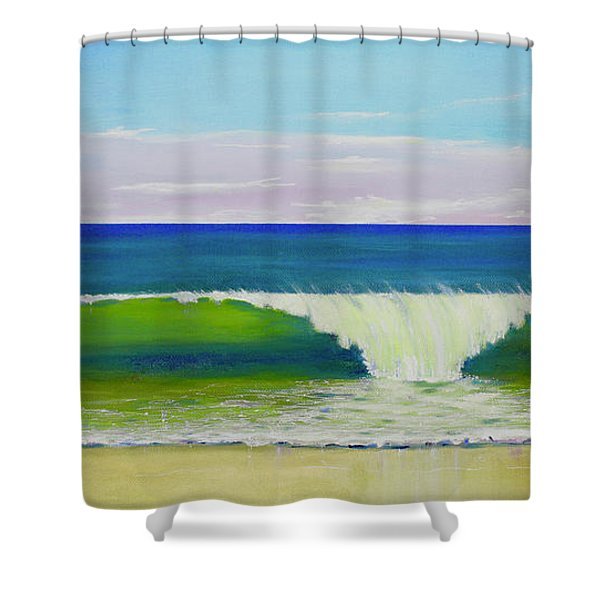 Shower Curtain featuring the painting Califia Beach by Mary Scott