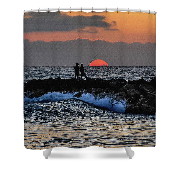 California Evening With Sandstone Effect Shower Curtain