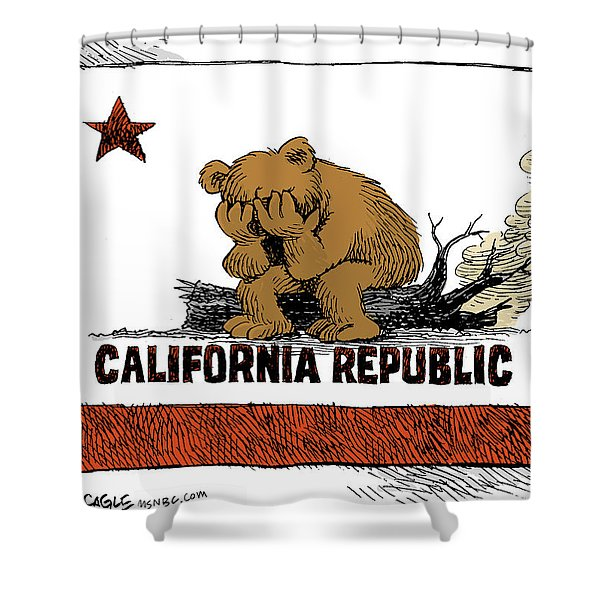California Fire Bear Grieves Shower Curtain