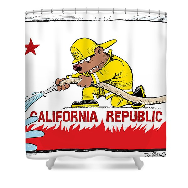California Firefighter Flag Shower Curtain