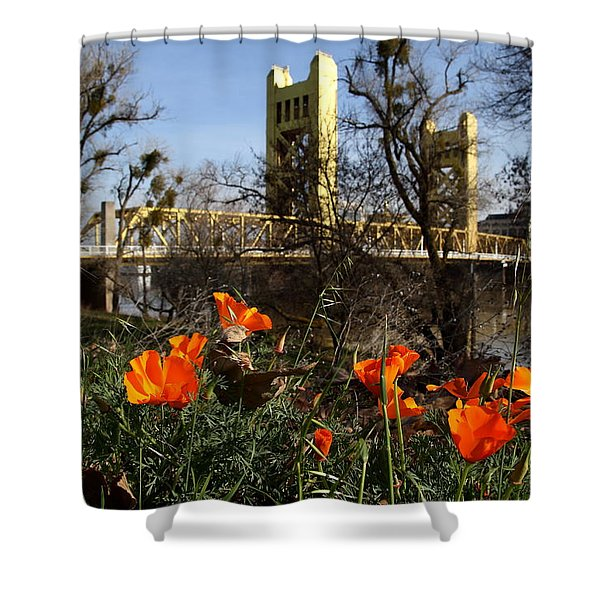 California Poppies With The Slightly Photographically Blurred Sacramento Tower Bridge In The Back Shower Curtain