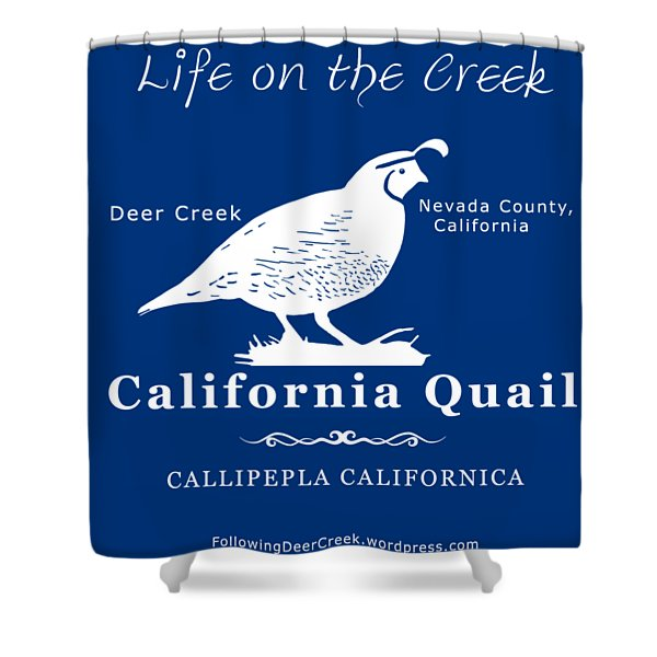 California Quail - White Graphics Shower Curtain