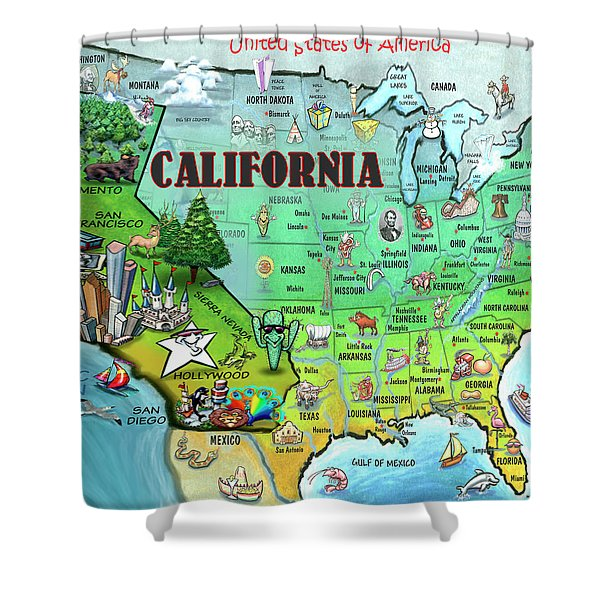 California Usa Shower Curtain