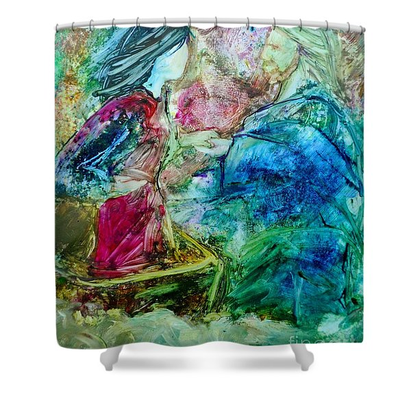 Shower Curtain featuring the painting Called Out Of The Boat by Deborah Nell