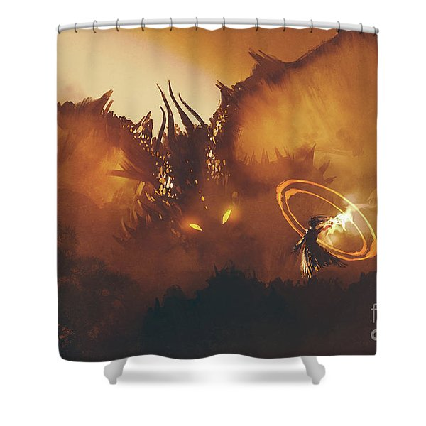 Shower Curtain featuring the painting Calling Of The Dragon by Tithi Luadthong