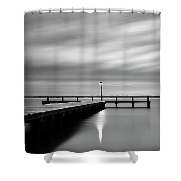 Calm Barnegat Bay New Jersey Black And White Shower Curtain