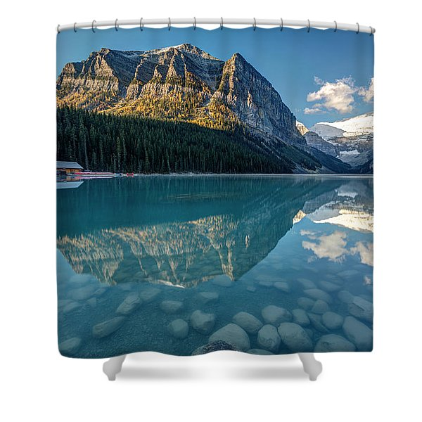 Calm Lake Louise Reflection Shower Curtain