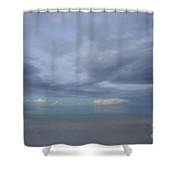 Calm Ocean Horizon At Dusk Shower Curtain