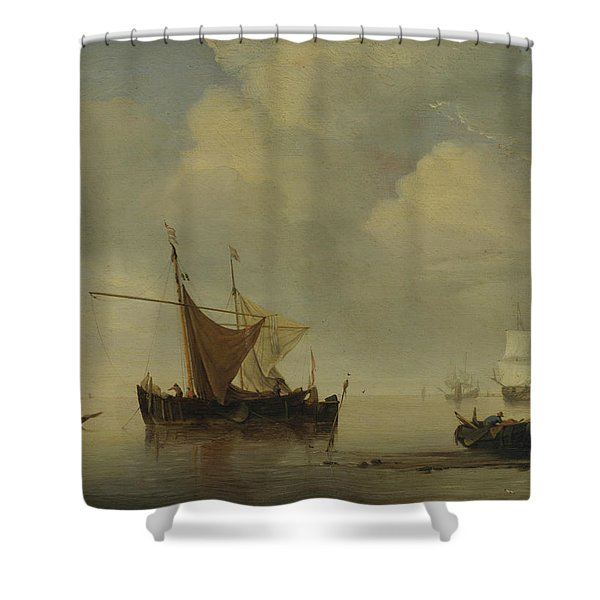 Calm-two Dutch Vessels Shower Curtain
