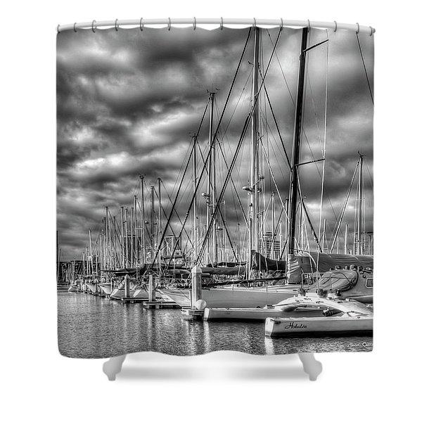 Calm Waters Ala Wai Harbor Waikiki Yacht Club Hawaii Collection Art Shower Curtain