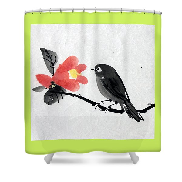 Camellia And A Little Bird Shower Curtain