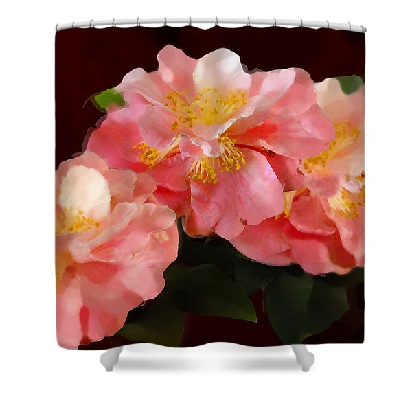 Shower Curtain featuring the painting Camellias 1cmods1b Digital Painting Gulf Coast Florida by G Linsenmayer