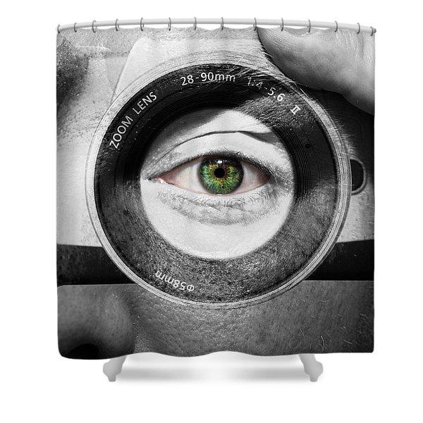 Camera Face Shower Curtain