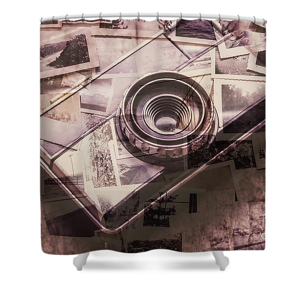 Camera Of A Vintage Double Exposure Shower Curtain