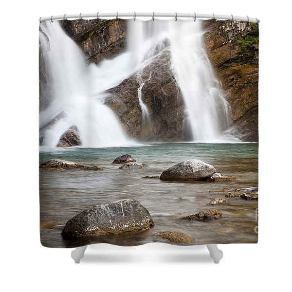 Shower Curtain featuring the photograph Cameron Falls In Waterton Lakes National Park by Bryan Mullennix