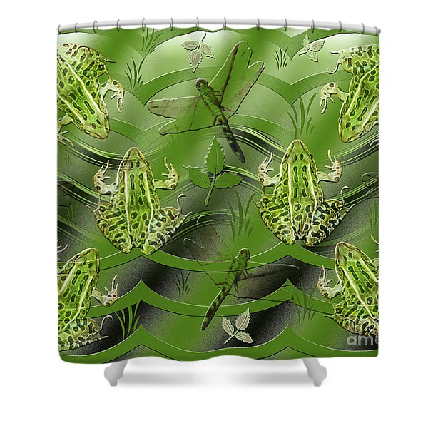 Camo Frog Dragonfly Shower Curtain