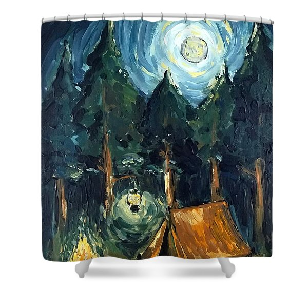 Camp At Night Shower Curtain