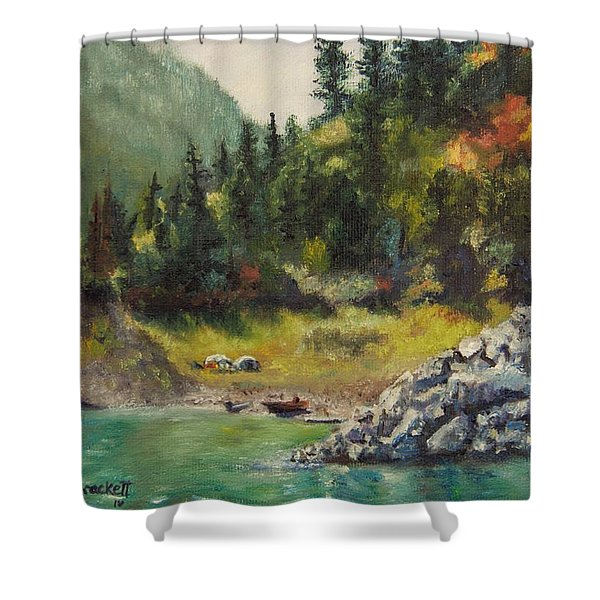 Camping On The Lake Shore Shower Curtain
