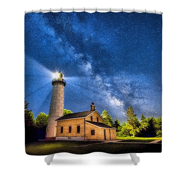 Cana Island Lighthouse Milky Way In Door County Wisconsin Shower Curtain