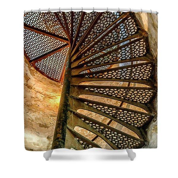 Cana Island Lighthouse Staircase Shower Curtain