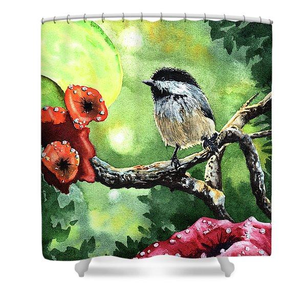 Canadian Chickadee Shower Curtain