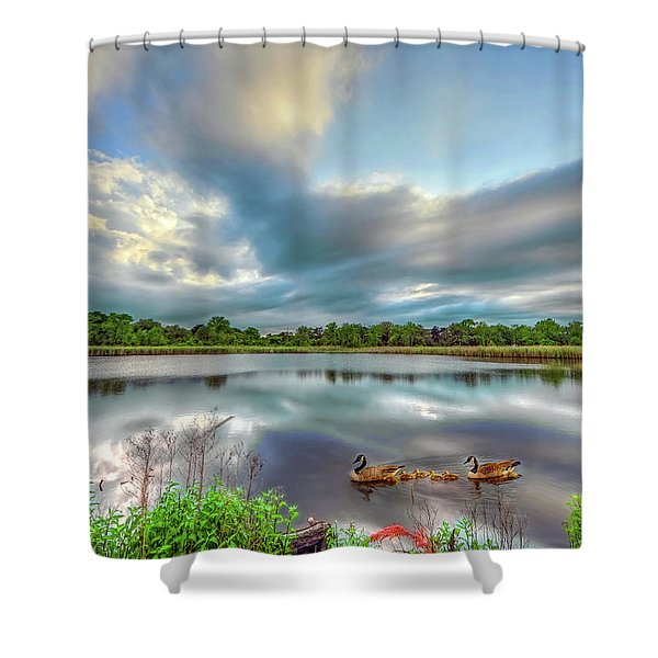 Canadian Geese On A Marylamd Pond Shower Curtain