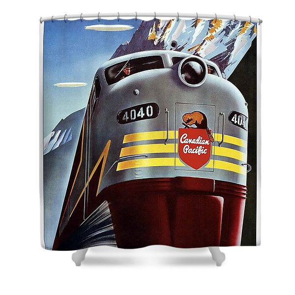 Canadian Pacific - Railroad Engine, Mountains - Retro Travel Poster - Vintage Poster Shower Curtain