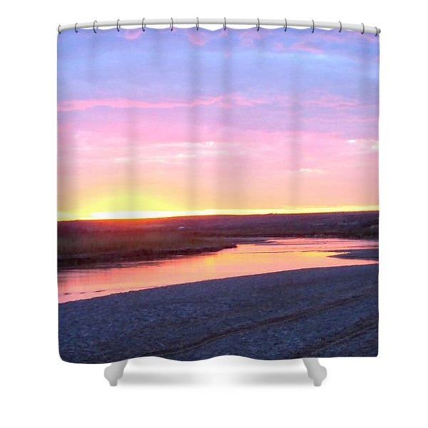 Shower Curtain featuring the photograph Canadian River Sunset by Deleas Kilgore