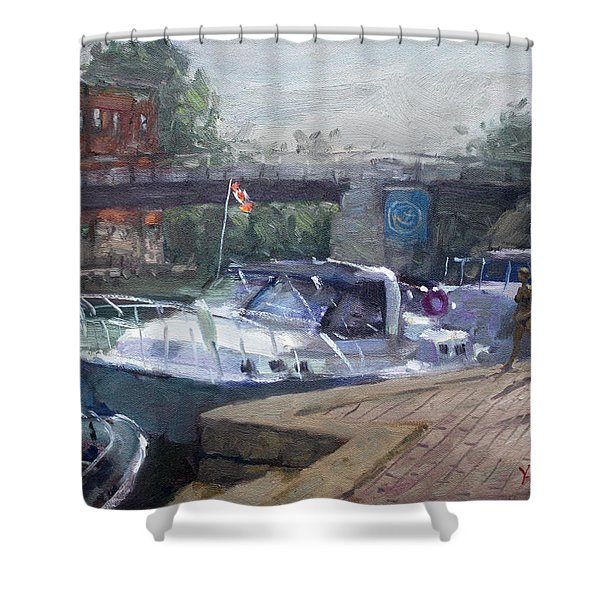 Canadian Yacht At Tonawanda Harbor Shower Curtain