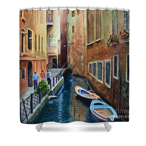 Shower Curtain featuring the painting Canal St. by Karen Fleschler