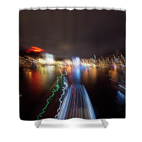 Canal Streaking Abstract Shower Curtain