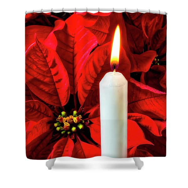 Candle And Poinsettia Shower Curtain
