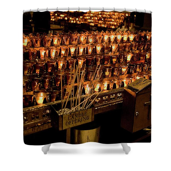 Shower Curtain featuring the photograph Candle Offerings St. Patrick Cathedral by Lorraine Devon Wilke