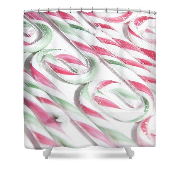 Candy Cane Swirls Shower Curtain
