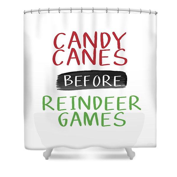 Candy Canes Before Reindeer Games- Art By Linda Woods Shower Curtain