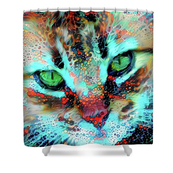 Candy The Colorful Green Eyed Cat Shower Curtain