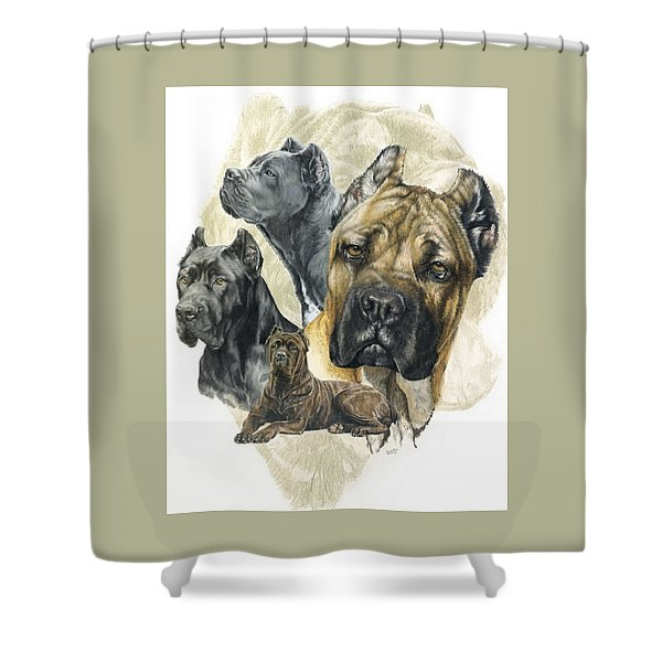 Shower Curtain featuring the mixed media Cane Corso Medley by Barbara Keith
