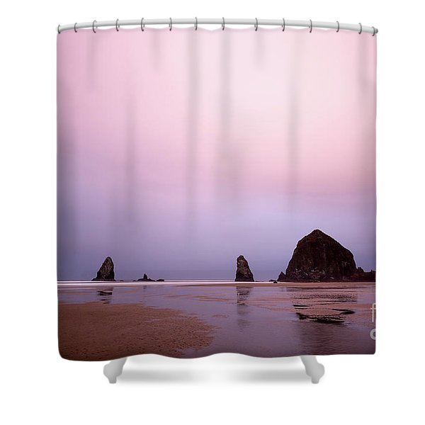 Cannon Beach In The Early Morning Blue Light Shower Curtain