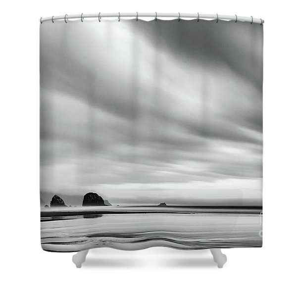 Cannon Beach Long Exposure Sunrise In Black And White Shower Curtain