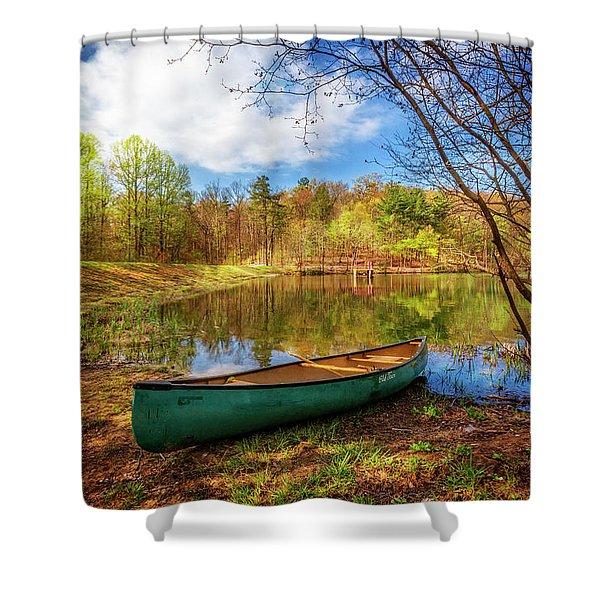 Canoe At Lakeside Shower Curtain