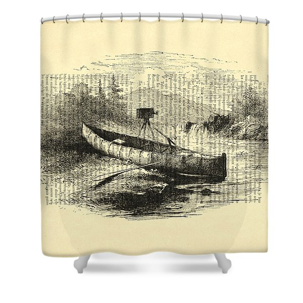 Canoe With Field Camera In Black And White Antique Illustration Shower Curtain