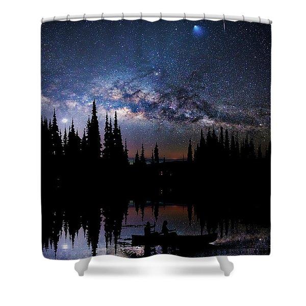 Canoeing - Milky Way - Night Scene Shower Curtain