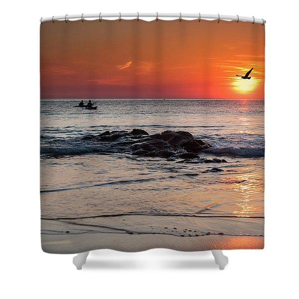 A Canoe At Crackington Haven At Sunset Cornwall Shower Curtain