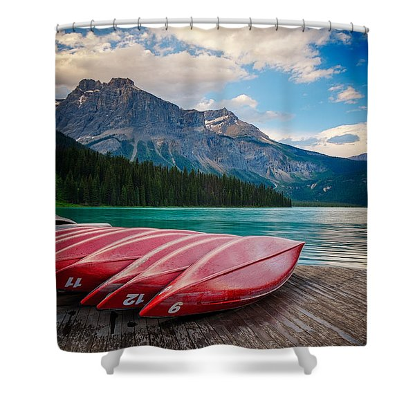 Shower Curtain featuring the photograph Canoes At Emerald Lake In Yoho National Park by Bryan Mullennix