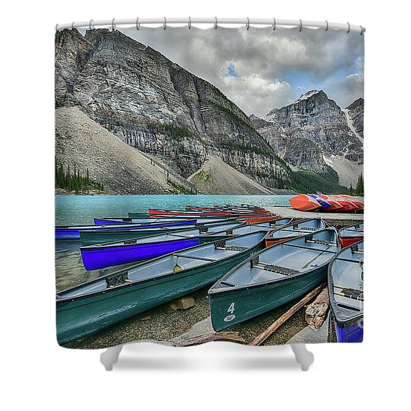 Canoes On Moraine Lake  Shower Curtain