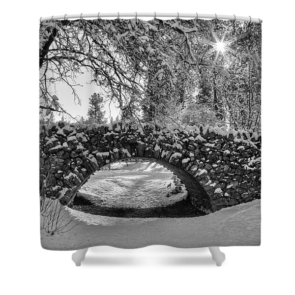 Canon Hill Park Winter - Black And White Shower Curtain