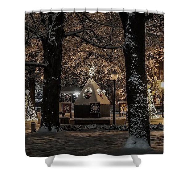 Canopy Of Christmas Lights Shower Curtain
