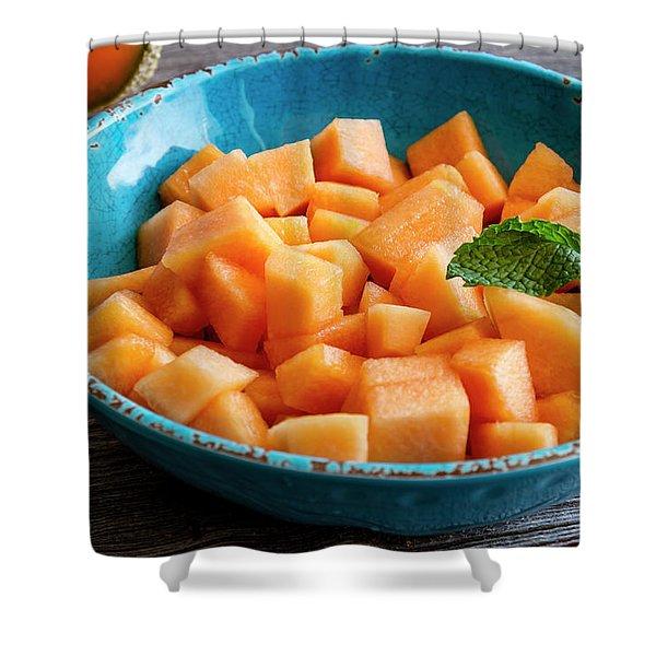 Cantaloupe For Breakfast Shower Curtain